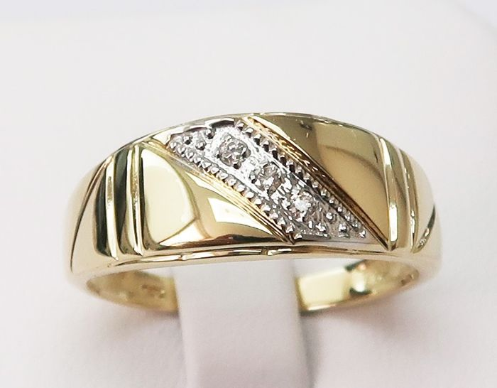 14KT Yellow Gold Ring with 0.0375ct Diamond for Men, Size S 1/2