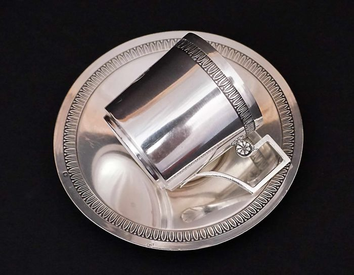 Silver cup and saucer,    -Louis Coignet    -France  1889-1893