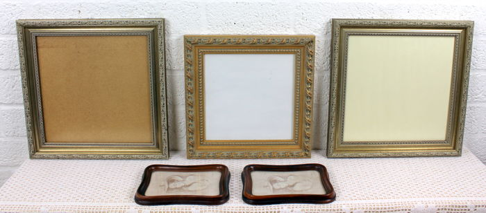 Vintage Wooden Picture Frames With Glass Plate 5 X Catawiki
