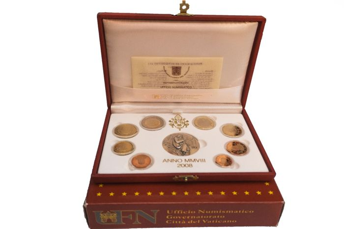 "Vaticano - Serie Divisionale PROOF Euro 2008 + 1 silver medal dedicated ""Luca"" evangelists"
