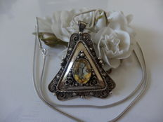 Antique silver pendant/brooch with citrine on a fox tail necklace.  no reserve