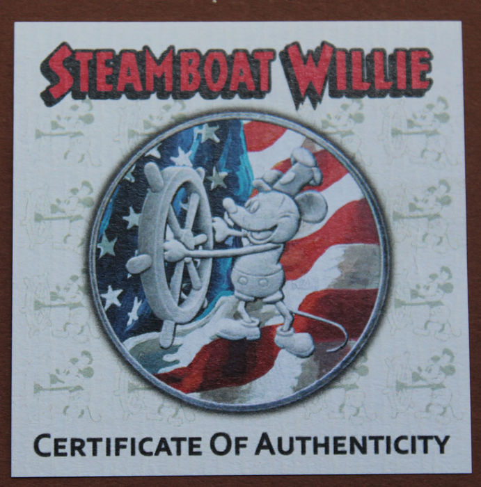 Niue 2 Dollar 2017 Steamboat Willie Mickey Mouse Us Flag 1 Oz