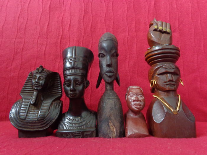 Lot of 5 African Figurines: Egyptians (2), Tribal Figures (2) and Nelson Mandela (1)