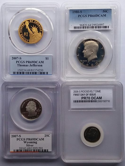 United States - 10 Cents, 25 Cents, 1/2 Dollar, 1 Dollar 1980S/2007S (4 coins) in Slabs