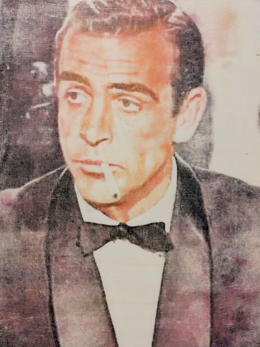 James Bond Sean Connery Original Artwork On A Wooden Catawiki