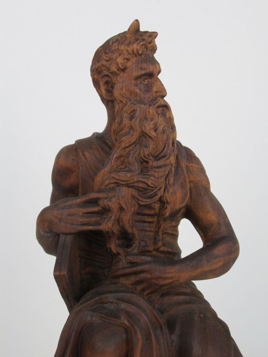 From a model by Michelangelo - old sculpture of Moses sitting with the tablets of the 10 Commandments - beechwood sculpture, fully crafted and carved by hand - Italy - early 1900s