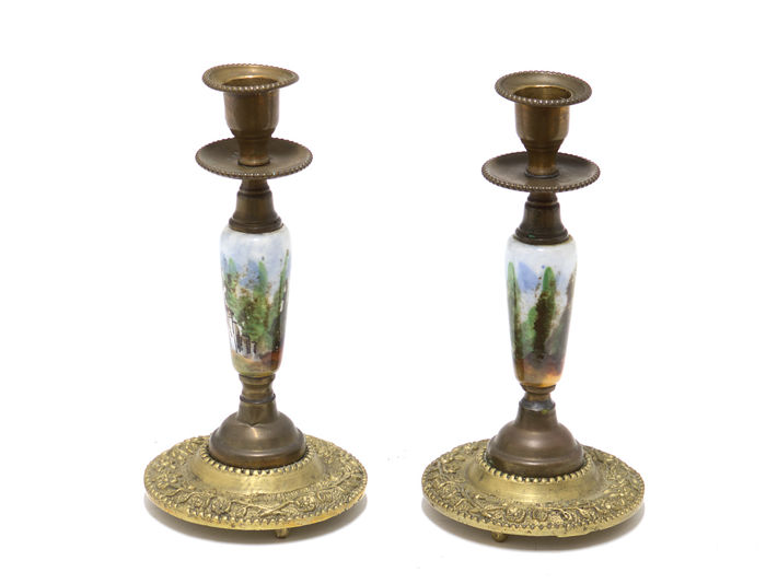 Antique candlesticks in bronze and porcelain