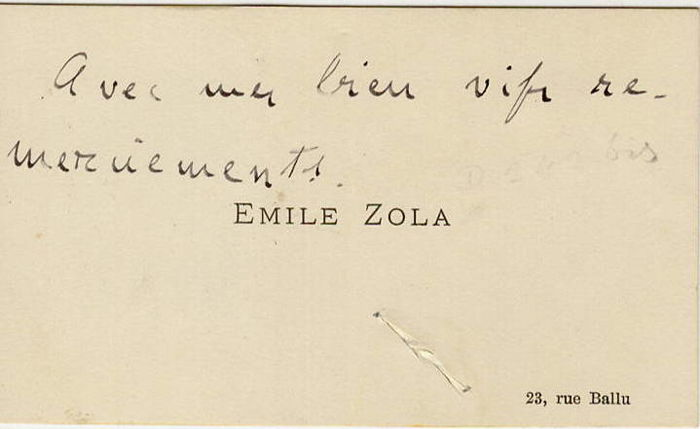 Emile Zola writer - Autograph; Business Card (not signed) with Thanks (23, Rue Ballu Paris) - 1870