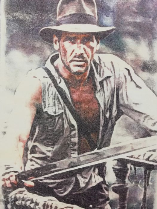 INDIANA JONES - Original artwork on a wooden plate - Size: 29,8 x 42 cm. - First edition - (2018)