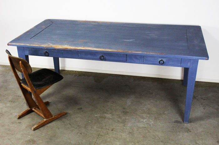 Long Vintage Industrial Work Table Or Garden Table Issued In