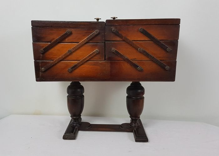 Wooden foldable sewing chest on ball feet, 20th century, Netherlands