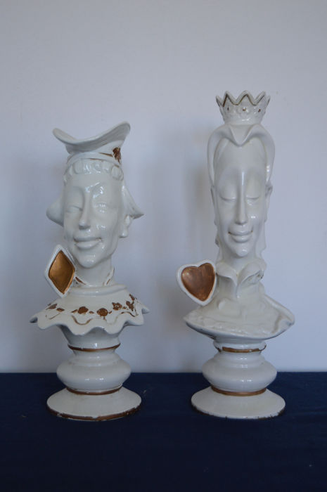 Alice in Wonderland 2 Strange Sculptures Jack of spades and King of Hearts - 20th century