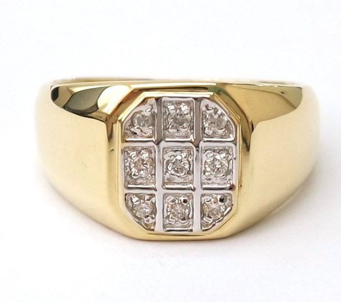 14CT Yellow Gold  0.113 cts Diamond Ring for Men , Size T