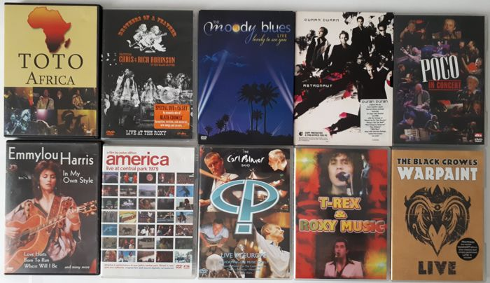 Lot of 10 DVD / Toto, Brothers Of A Feather, The Moody Blues, Duran