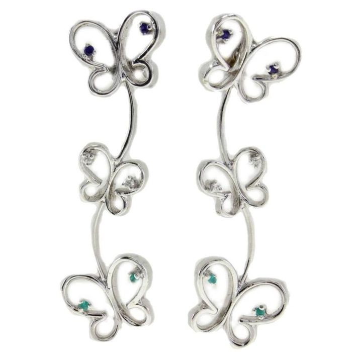 Butterfly-shaped earrings in white gold