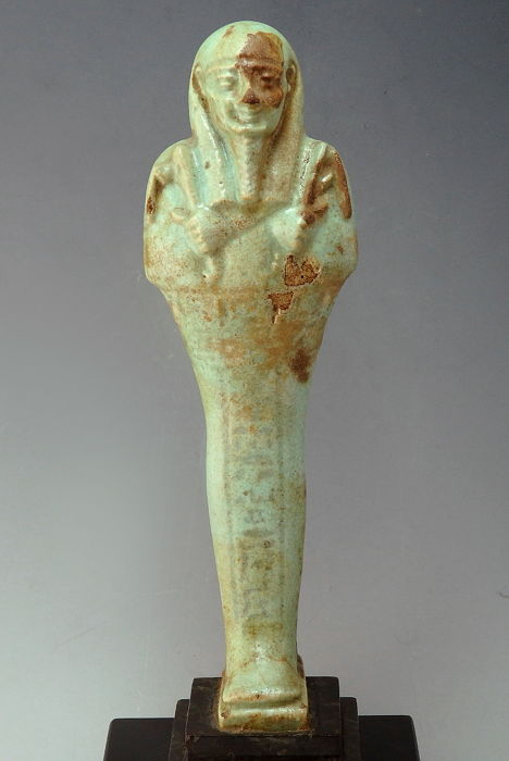 Massive Ancient Egyptian Faiance Green/Blue Glazed Composition Shabti  - 18.4cm height without stand