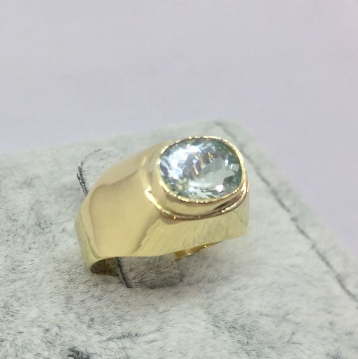 662b7617f9d63 18kt Solid Gold Aquamarine Mens Pinky Finger Ring - size US 6 - Catawiki