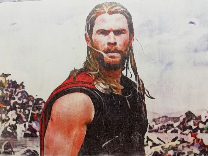 THOR - Original artwork on a wooden plate - Size: 29,8 x 42 cm. - First edition - (2018)