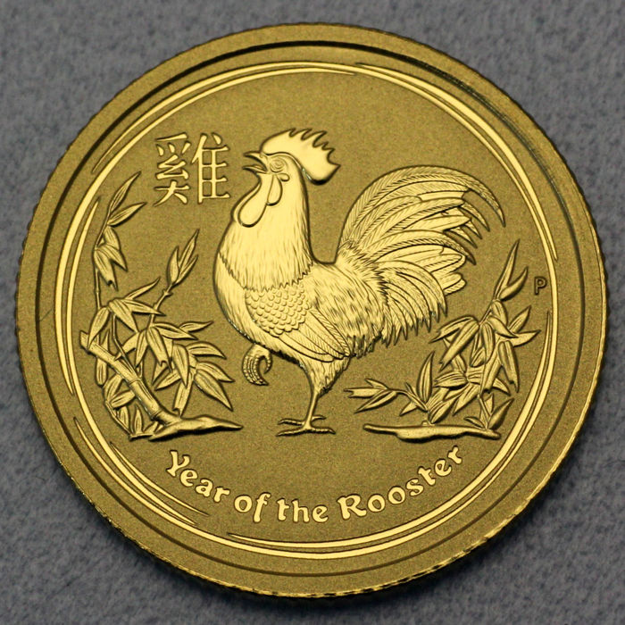 澳大利亞 - 15 Dollars 2017 Year of the Rooster - 1/10 oz - 金色