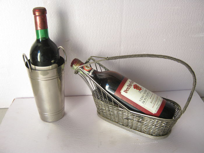 Silver plated wine basket 'wickerstyle' and silver plated elegant wine cooler/carrier, both made in Alpaca silver - 2 items