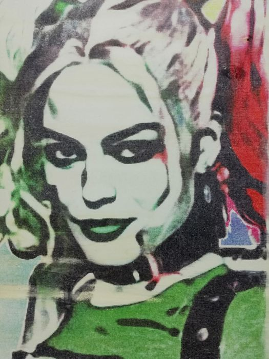 HARLEY QUINN - Original artwork on a wooden plate - Size: 29,8 x 42 cm. - First edition - (2018)