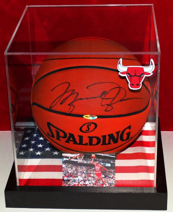various colors 3d776 413a1 Michael Jordan full-sized autographed basketball in a display case (with  light) + Certificate of Authenticity UDA - Catawiki