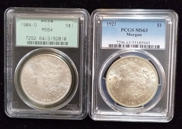 Estados Unidos -  Morgan Dollar -1921+ 1904 -O PCGS MS64 /63(2coins) - Plata