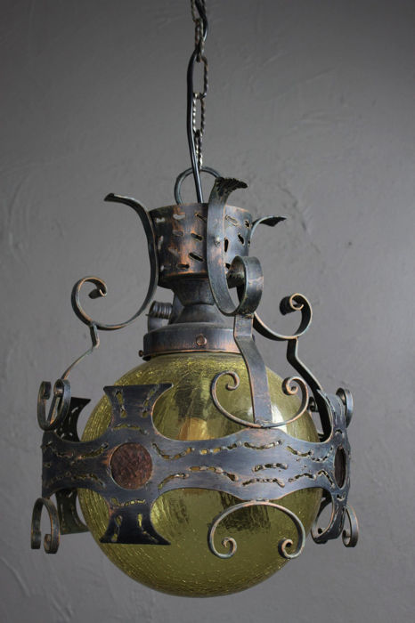Vintage Wrought Iron Steampunk Pendant Light Or Castle Lamp Catawiki