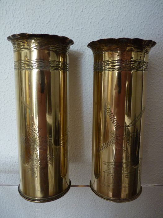 Trench Art set of brass tubes with engraved presentation + dated 14-aug-1946