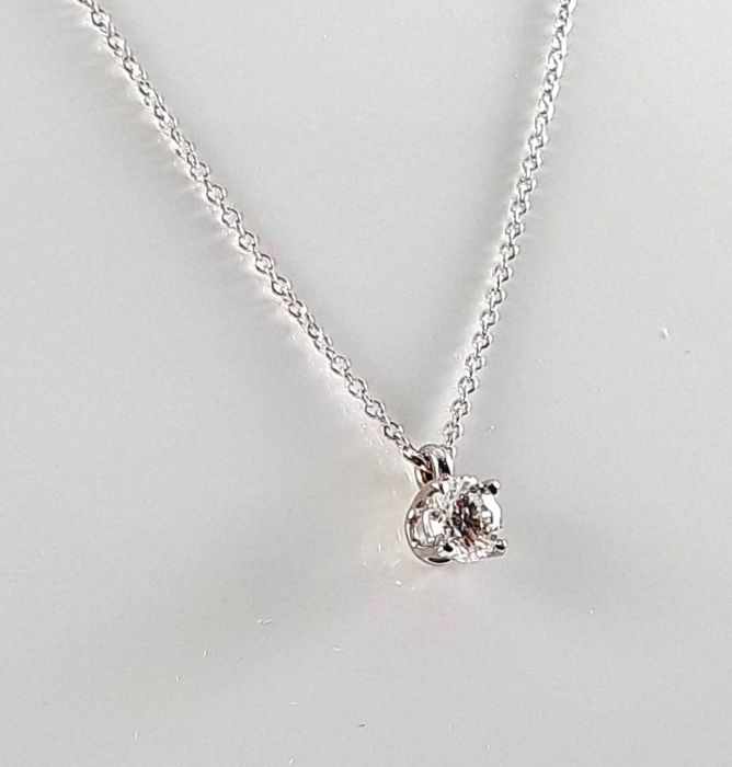 18 kt. White gold - Necklace with pendant - 0.40 ct Diamond