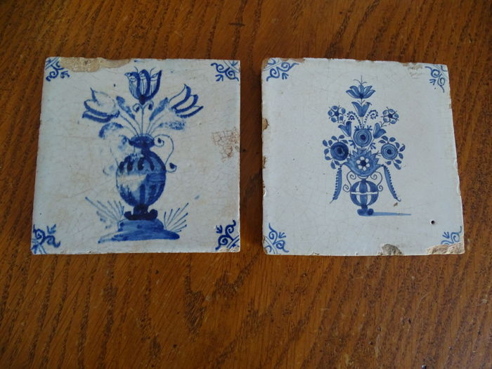 Two Flower Vase Tiles Oxen Head Corner Motif Catawiki