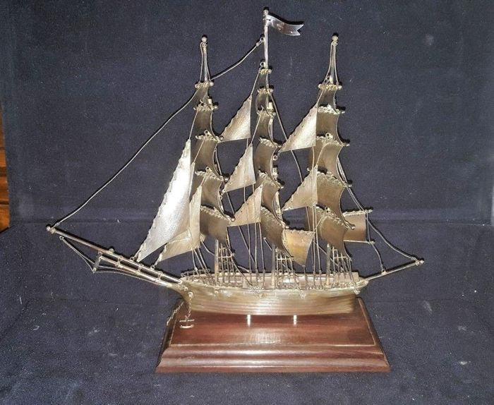 Solid silver sailing ship - Nemico 147 - Mexico - 1960s/70s