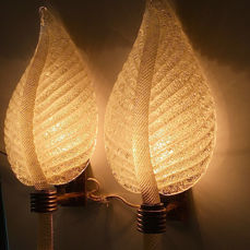Barovier & Toso - Pair of 'Ruggiada' glass sconces