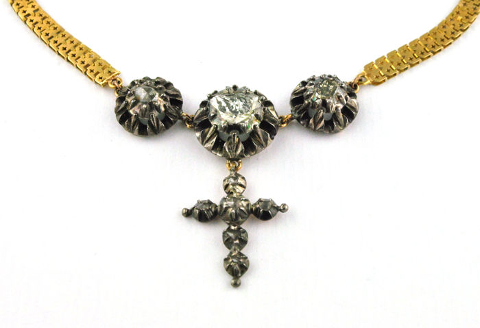 Exclusive 18th-19th Century Necklace with Antique Diamonds on silver fastenings set on handmade 18k Yellow Gold