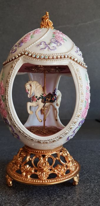 Franklin Mint House of  Fabergé Music Box Carousel Horse 1990s