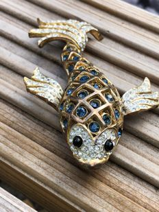 Gem set massive Chinese koi carp Sardi brooch signed