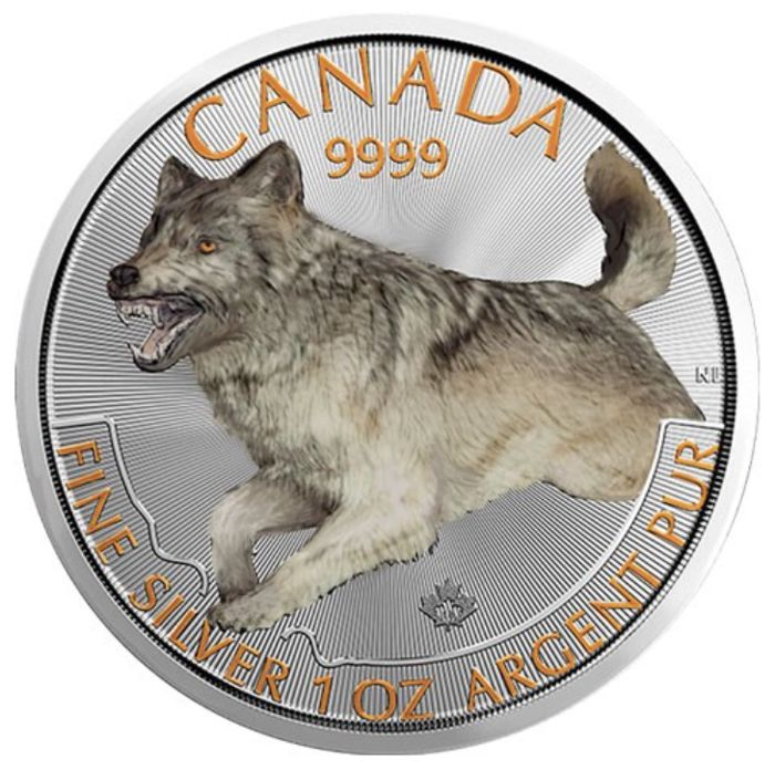 Canada - 5 Dollars 2018 - 1 oz silver colour - (Predator series - wolf)