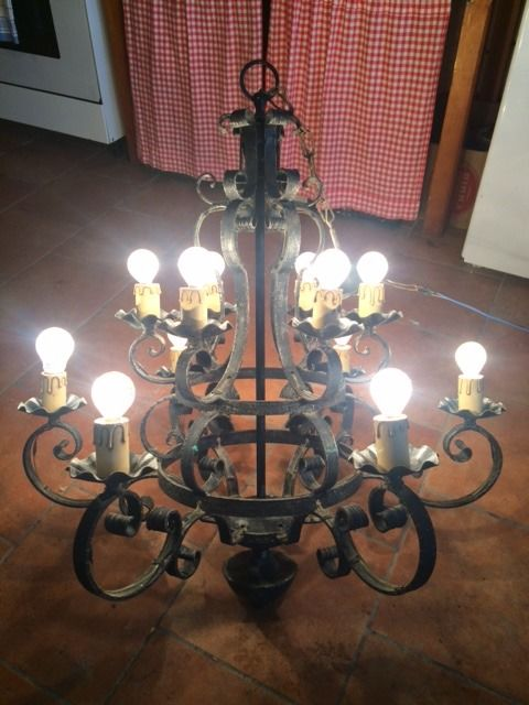 Wrought iron chandelier, early 1900s