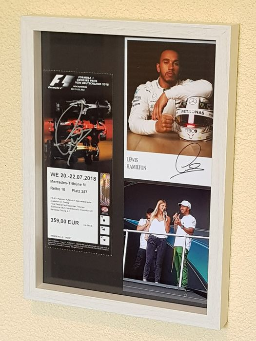 Lewis Hamilton - Mercedes F1 - framed ticket Hockenheim GP 2018  + COA