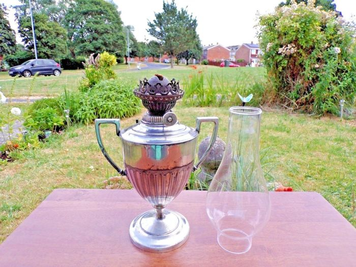 Antique art deco Hinks silver plated oil lamp
