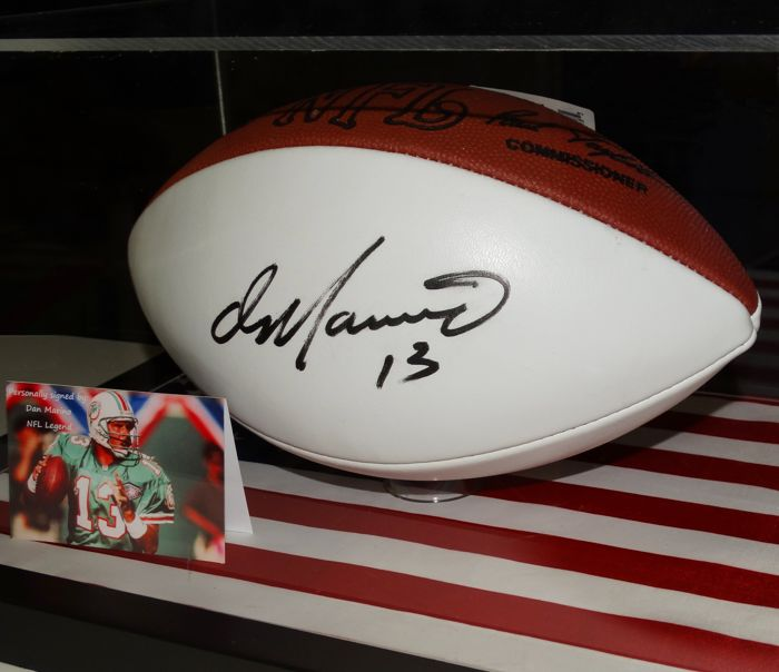 4e2468f3dd5 Dan Marino original autographed football in a display case + Certificate of  Authenticity and photo of the signing session