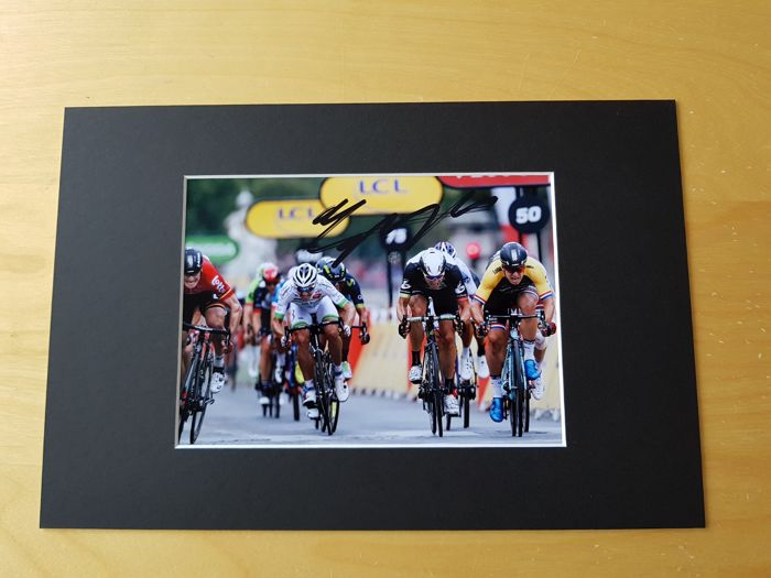 Dylan Groenewegen - Winner Champs Elysees Tour de France 2017 and 2x winner stage Tour de France 2018 - hand signed photo Champs Elysees sprint  in professional passepartout  + COA.