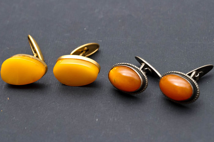 Vintage Baltic Amber set of two pair of cuff links, stamped silver 875 and gold plated egg yolk Amber