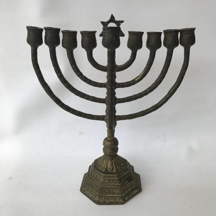 Jewish Hanukkiah (9-branched candelabrum with star of David) - copper - 1st half of the 20th century