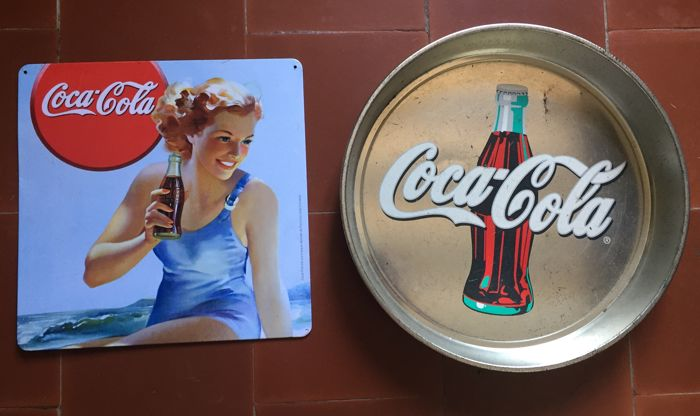Advertising sign + sheet metal - Coca-Cola - 80s
