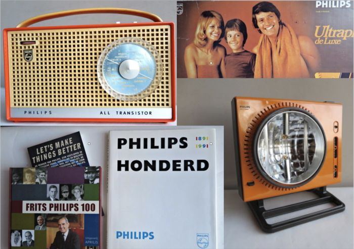 Philips - 3 (anniversary) books 100 years Product & Business development + Transistor radio and tanning lamp & 1960s