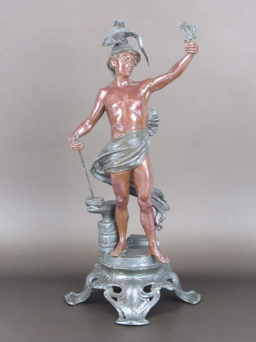 Antique sculpture possibly depicting the God Mercury - made of enamelled painted antimony, crafted and finished by hand - Italy - late 1800s/early 1900s