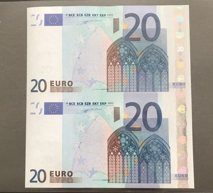 European Union - Germany - 2 x 20  Euro 2002 - Duisenberg - Uncut sheet of 2 banknotes