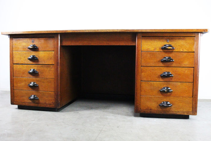 Large art deco writing desk with 2 drawer units and ten drawers