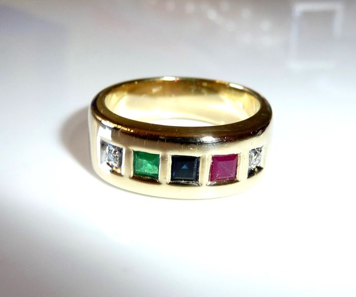 Ring 14 kt / 585 gold with emerald, ruby, sapphire + 2 diamonds/brilliant cut, ring size 55 - adjustable